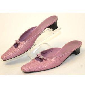 Salvatore Ferragamo Pink Croc Embossed Slip-on